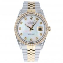 36mm Rolex Datejust Steel & Gold Mother Of Pearl Diamond Dial