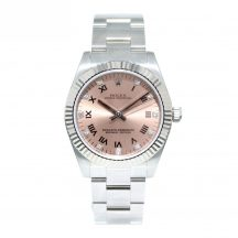 31mm Stainless Steel Rolex Oyster Perpetual White Gold Bezel Pink Diamond Dot Dial