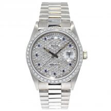 36mm Rolex Day-Date in 18ct White Gold With Diamond Dial & Bezel