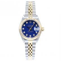 26mm Rolex Datejust Steel & Gold With Blue Diamond Dial