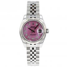 26mm Rolex Datejust With Pink Mother Of Pearl Diamond Dial