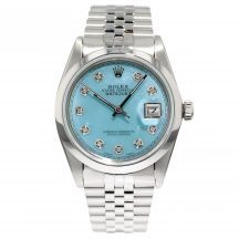 36mm Rolex Datejust With Blue Mother Of Pearl Dial