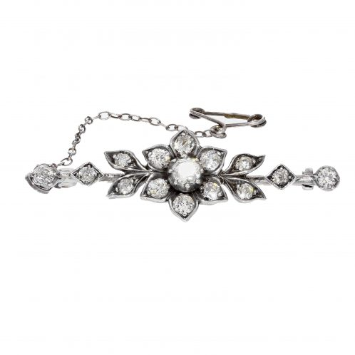 Circa 1900's Diamond Flower Brooch