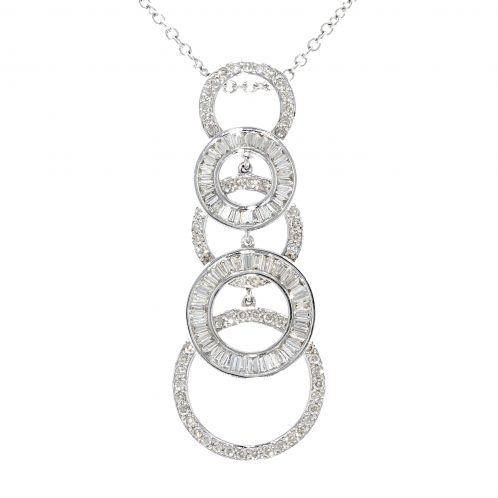 Brilliant And Baguette Diamond Pendant