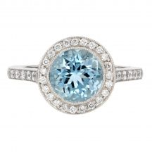 Brilliant Cut Aquamarine & Diamond Rub Over Set Ring 1.80ct