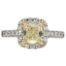Fancy Yellow Diamond Halo Ring 1.22ct