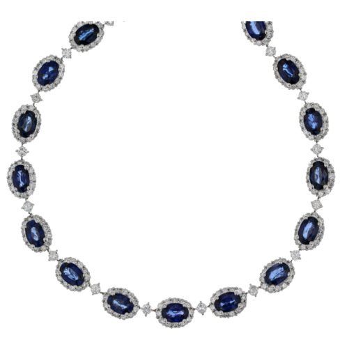 Sapphire and Diamond Cluster Necklace
