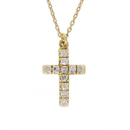 Yellow Gold Diamond Cross 0.70ct