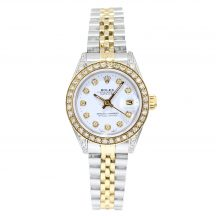 26mm Rolex Datejust In Stainless Steel & Gold With Diamond Bezel