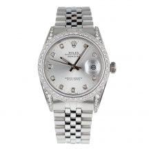 Rolex Datejust Silver Diamond Dot Dial With Diamond Bezel
