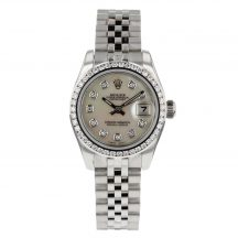 Rolex Ladies Datejust With Mother Of Pearl Diamond Dot Dial & Diamond Bezel
