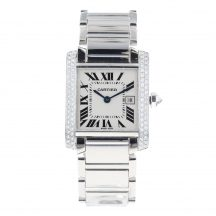 Cartier Tank Francaise Midsize 18ct White Gold Diamond Set