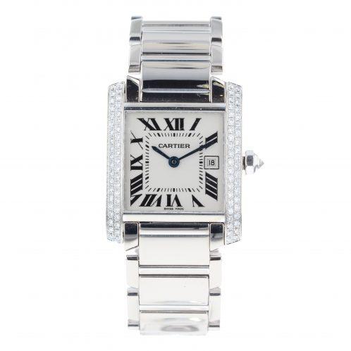 Cartier Tank Francaise Midsize 18ct White Gold Diamond Set