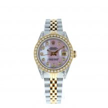 26mm Rolex Datejust Steel & Gold Diamond Mother Of Pearl Dial