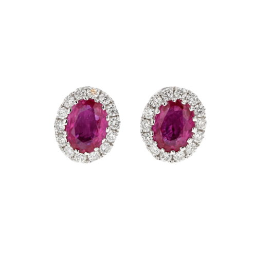 Ruby and Diamond Cluster Earrings (Small Size)