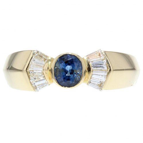 Diamond And Sapphire Yellow Gold Ring
