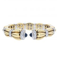 18ct Yellow Gold Sapphire & Diamond Bangle