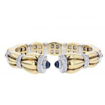 18ct Yellow Gold Sapphire & Diamond Bangle