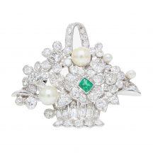 Beautiful Handmade Platinum Diamond, Emerald and Pearl Brooch