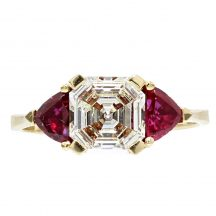 Diamond And Ruby Three Stone Ring