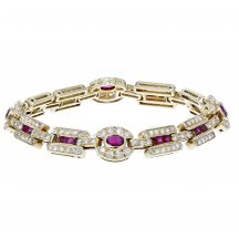 Handmade Ruby and Diamond Yellow Gold Bracelet