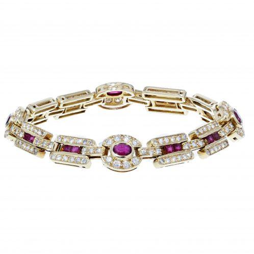 Handmade Ruby and Diamond Yellow Gold Bracelet