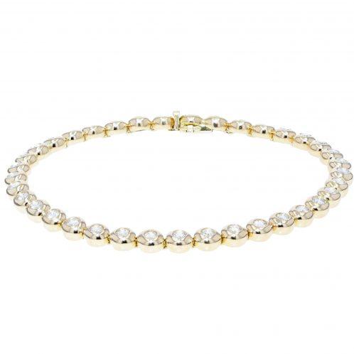 Brilliant Cut Rub Over Set Diamond Bracelet 3.90ct