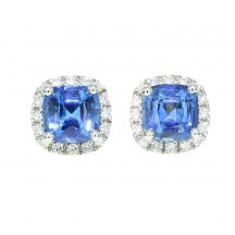 Cushion Cut Sapphire & Diamond Earrings 1.63ct