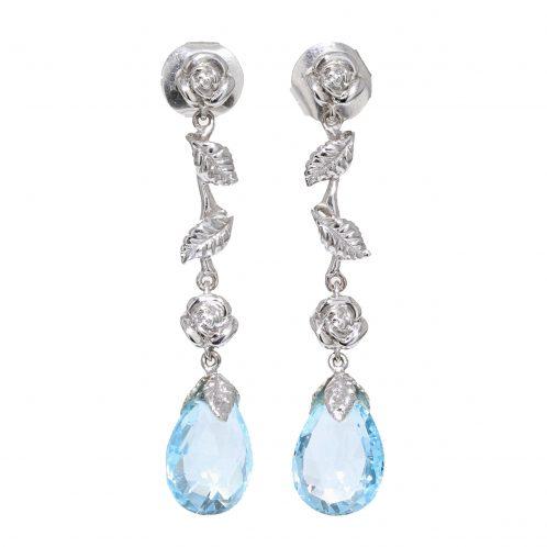 Aquamarine Rose and Leaf Design Drop Earrings