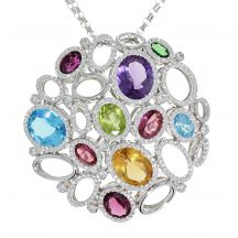 Multi Gem and Diamond Abstract Design Large Pendant