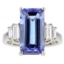 Baguette Cut Tanzanite & Diamond Ring 5.35ct