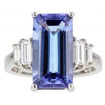 Baguette Cut Tanzanite & Diamond Ring 5.35ct