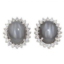 Moonstone And Diamond Earrings 6.00ct