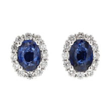 Sapphire and Diamond Cluster Earrings (Large Size)