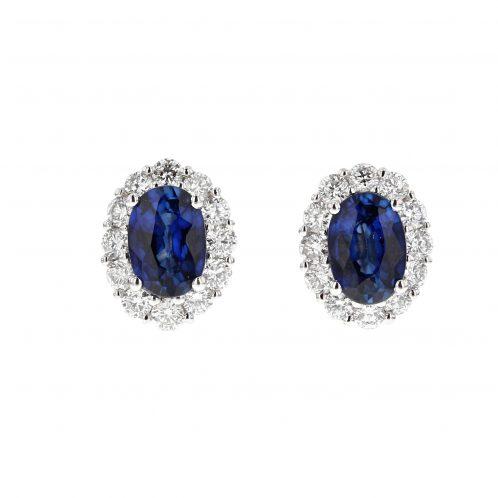 Sapphire & Diamond Cluster Earrings (Medium Size)