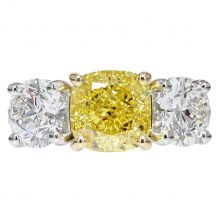 Fancy Vivid Yellow Diamond Three Stone Ring 2.52ct