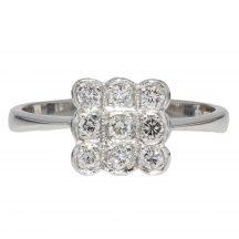 Nine Diamond Square Ring in 18ct White Gold